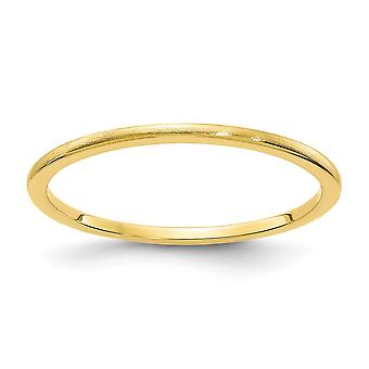 10ky 1.2mm Half Round Satin Stackable Band Ring Jewelry Gifts for Women - Ring Size: 4 to 10