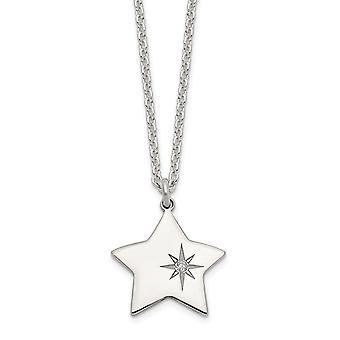 925 Sterling Silver polerad CZ Cubic Zirconia Simulerad Diamond Star i en stjärna hängande halsband 16 tums smycken Gåvor f