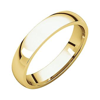 10k Yellow Gold 4mm Polished Light Comfort Fit Band Ring Jewelry Gifts for Women - Ring Size: 4.5 to 14