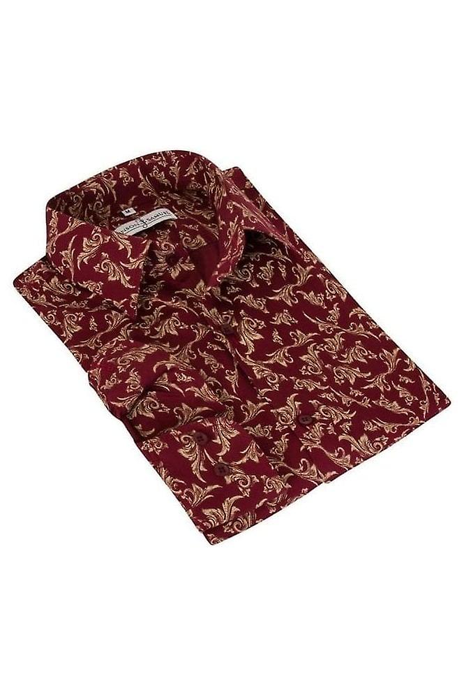 JSS Patterned Red Regular Fit 100% Cotton Shirt