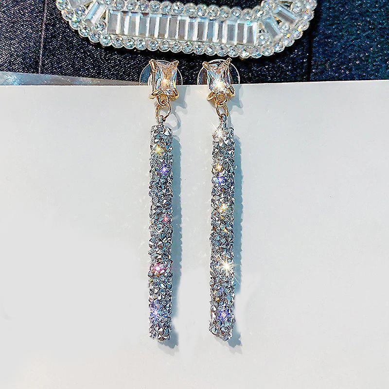 Rhinestone Rod Drop Earrings - Silver