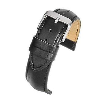 Calf leather watch strap black padded chrome buckle size 16mm to 22mm