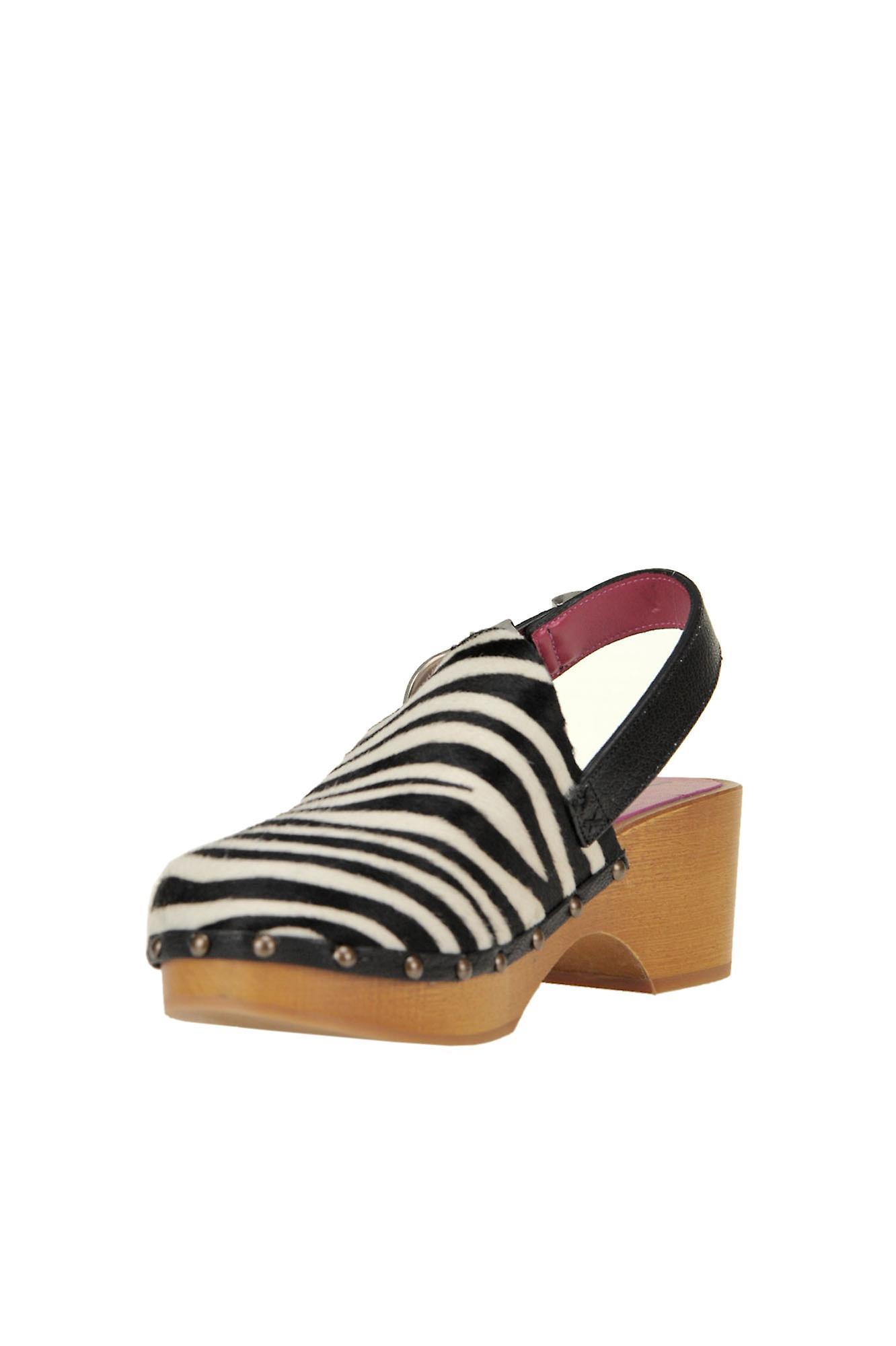 181 Ezgl315009 Women's White/black Pony Skin Slippers