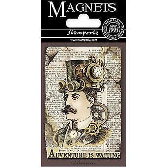 Stamperia Voyages Fantastiques Man 8x5.5cm Magneet