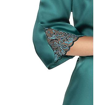 Irall Women's Emerald Green Floral Lace Robe Loungewear Bath Dressing Gown