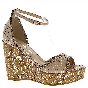 Leonardo Shoes Sandales compensées à la main en cuir napa rose poudré