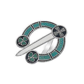 Celtic Shamrock Tara Enamel Scarf Ring - Gift Boxed