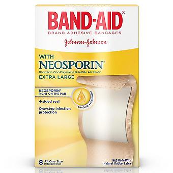 Band-aid plus antibiotic adhesive bandages, extra large, 8 ea