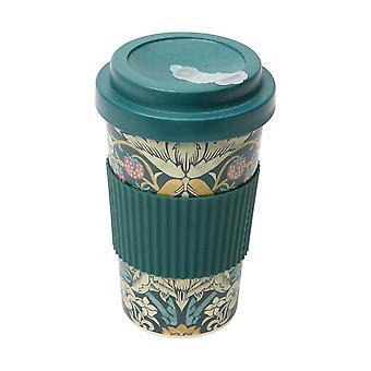 Morris & Co Bamboo Strawberry Thief Travel Mug, Teal