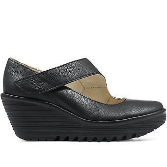 Fly London Womens Yasi Leather Mary Jane Wedge Shoe