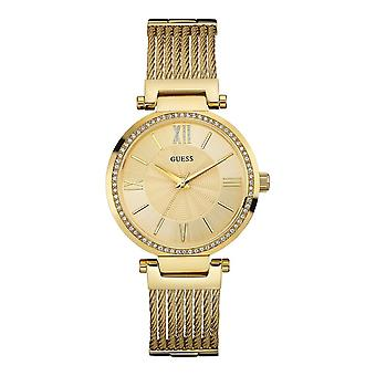 Guess Watches Guess Ladies Gold Watch Wire Bracelet W0638L2