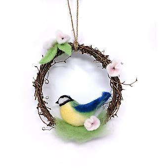 Spring Blue Tit Wreath Needle Felting Kit
