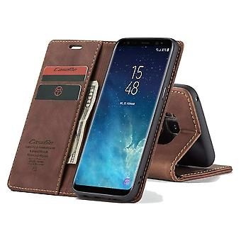 CaseMe Retro Bookcase Hoesje Samsung Galaxy S8 - Donkerbruin