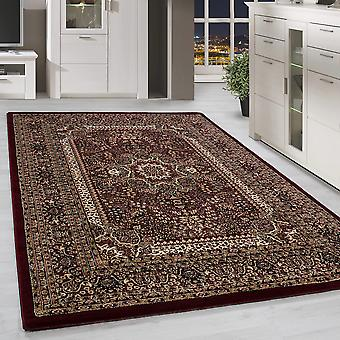 Design Orient Teppich Bordüre Traditionelles Muster Farbe Rot Wohnzimmerteppich