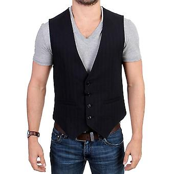 Black Striped Cotton Casual Vest SIG10772-2
