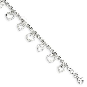 925 שטרלינג כסף לובסטר מהודר הסגר מלוטש אהבה לב הקרסול 9 מתנות תכשיטים אינטש לנשים