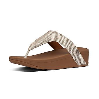 FitFlop Lottie Glitter Stripe™ Toe Post Sandals In Stone
