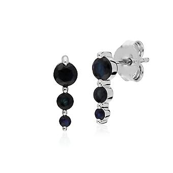 Classic Round Sapphire Gradient Drop Stud Earrings in 925 Sterling Silver 270E025506925