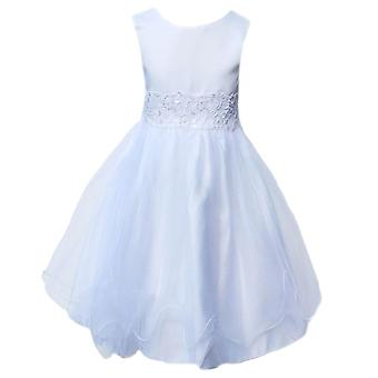 女の赤ちゃんは白い洗礼ドレス フラワー ガール ドレス ページェント パーティー