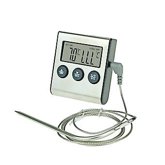 Digital Food Meat Cooking Kitchen Thermometer - For Smoker Grill Oven Bbq Clock Timer With Stainless Steel Probe