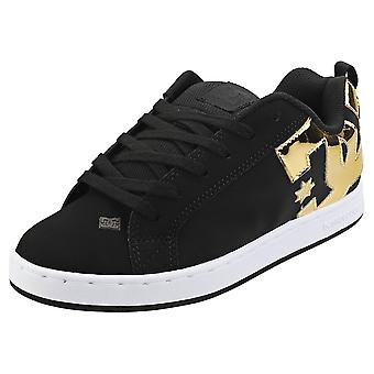DC Shoes Court Graffik Womens Skate Trainers in Black Gold