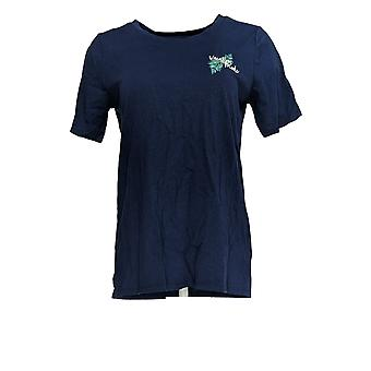 Cuddl Duds Women's Top Cotton Touch Short Sleeve T-Shirt Blue A373521