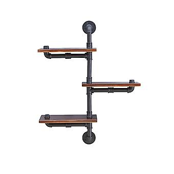GH120, Danya B. 3-Tier Vertical Floating Staggered Industrial Rustic Pipe Shelving Unit - Wall Mount