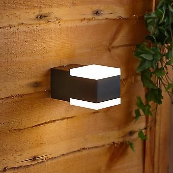 Modern Square Black Outdoor Wall Light Up or Down Integrated LED IP54