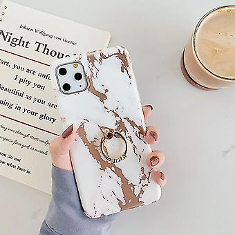 Mobile case for iPhone 11 in luxurious marble pattern + ring