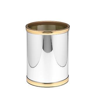 Mylar Polid Chrome & Brass 10.75 Pouces Rd. Waste Basket
