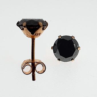 Vintage Örhängen Guld 18K med Briljantslipade Svarta Diamanter 2 ct.