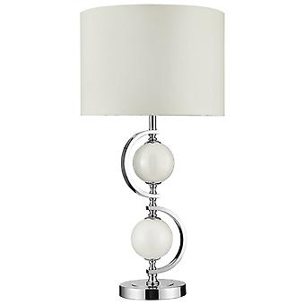 Searchlight - 1 Light Table Lamp Chrome, with Cream Glass & Drum Shade, E27