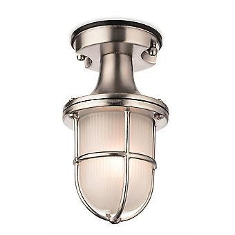 1 Light Outdoor Flush Light Nickel with Frosted Glass IP54, E27