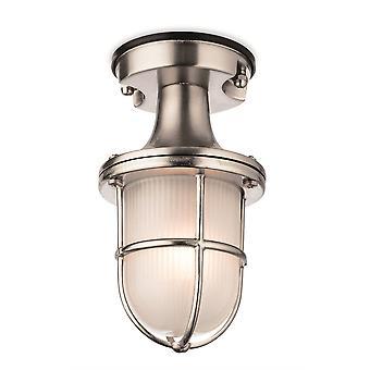 1 Light Outdoor Flush Light Nickel avec verre givré IP54, E27