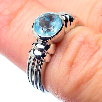 Blue Topaz Ring Size 5.5 (925 Sterling Silver)  - Handmade Boho Vintage Jewelry RING26827