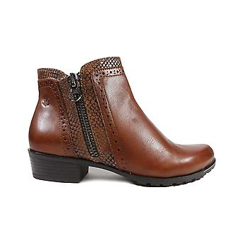 Caprice 25403 Cognac Leather Womens Ankle Boots