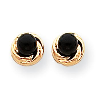 14k Polished Open back Post Earrings Simulated Onyx With Gold Wreath Earrings Measures 6x6mm Jewelry Gifts for Women