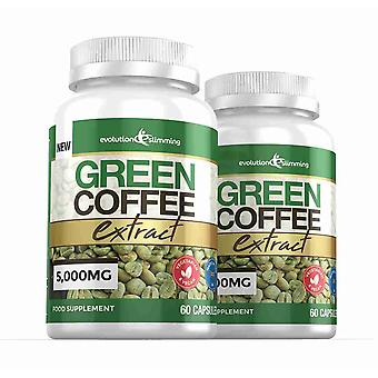 Green Coffee Bean Extract 5,000mg - 120 Capsules - Fat Burner - Evolution Slimming