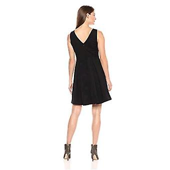 Brand - Lark & Ro Women's Sleeveless Crew Neck Pleated Fit & Flare Dress, Black, 14