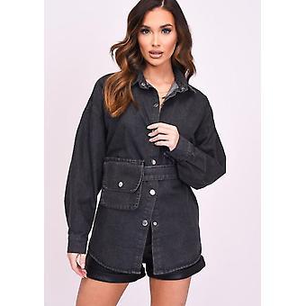 Oversized Button Through Bag Belted Denim Shirt Jacket Black