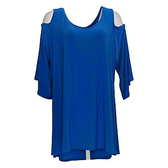 Attitudes door Renee Top Cold-Shoulder Bell Sleeve Relaxed Fit Blue A288803
