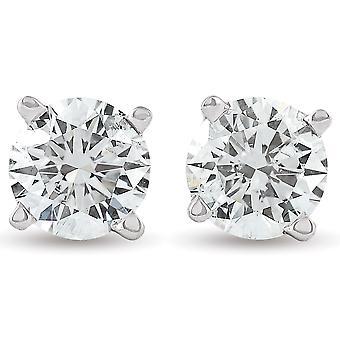 3/4 Ct TDW Lab Uprawiane Diamond Studs 14K Białe złoto IGI Certfied (GH-SI1/SI2)