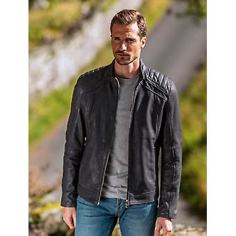 Clifton Leather Jacket in Navy