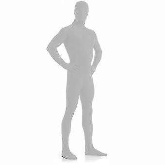 AltSkin Adult/Kids Full Body Stretch Fabric Zentai Suit - Zippered Back One Piece Stretch Suit Costume - Silver