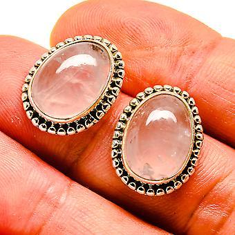 "Rose Quartz Earrings 3/4"" (925 Sterling Silver)  - Handmade Boho Vintage Jewelry EARR408070"