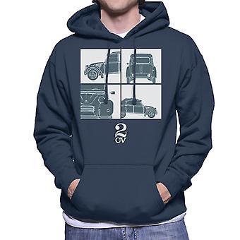 Citro?n 2CV White Glamour Close Ups Men's Hooded Sweatshirt