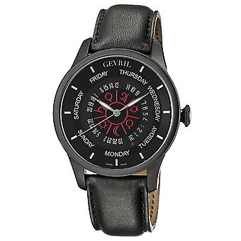 Gevril Men's 2001 Automatic Black PVD Stainless Steel Hand Made Leather Day D...