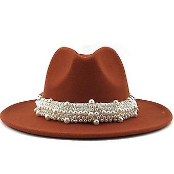 Femmes Hommes Wool Fedora Hat With Pearl Ribbon Gentleman Elegant Lady Winter