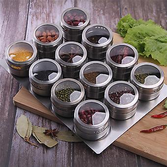 Frascos de especias conjunto acero inoxidable 12pcs / set spice latas de especias condimento recipientes de condimento de pimienta sprays herramientas con placa inferior