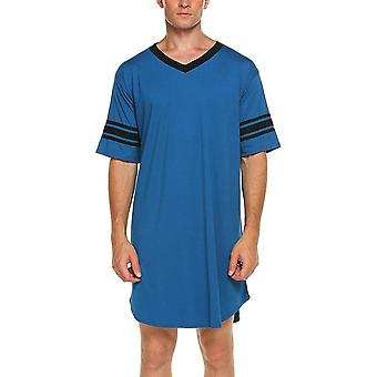 Men Cotton Casual Short Sleeve Long Nightshirt Soft Loose Night Sleepwear